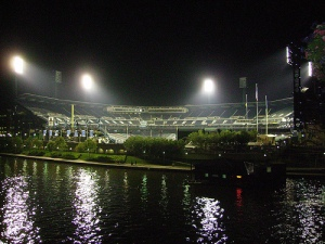 Looking back at the ballpark from the bridge. Great picture by Michael!