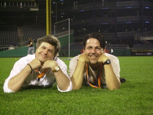 The Boys on the outfield grass.