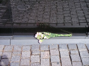 Flowers left at Vietnam Memorial