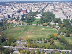 The White House from up in the Washington monument.