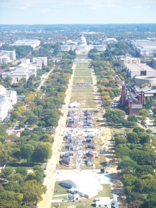 View of the Mall and Capitol with museums on either side