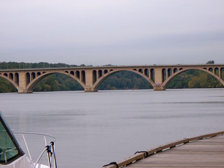 Francis Scott Key bridge (aka The Key) crossing over the Potomac into Virginia.