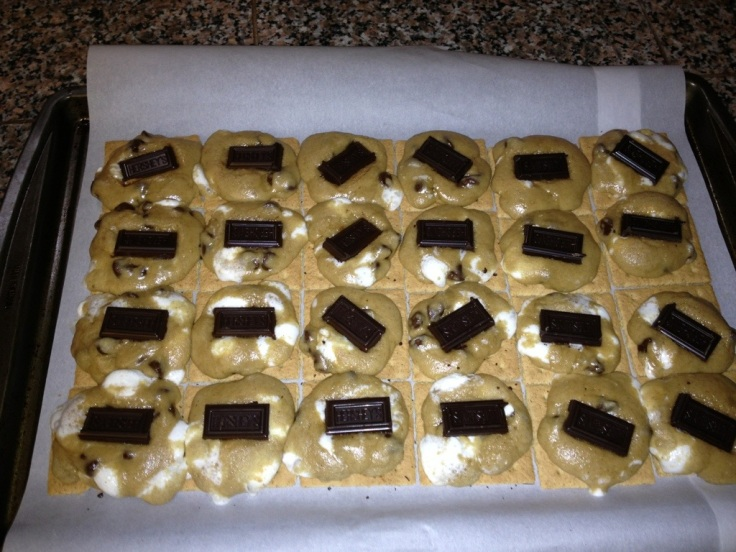 S'mores cookies partially baked