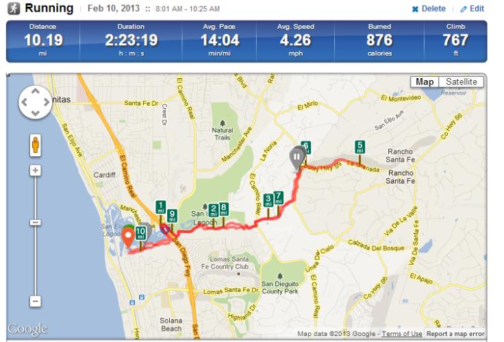 10 miles run