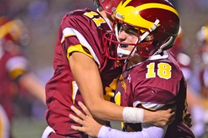 A bro hug from the other wide receiver