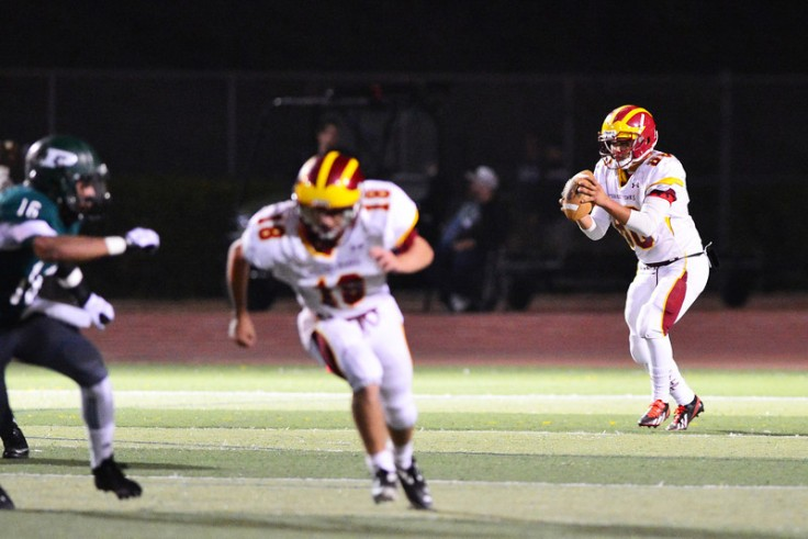 Out of focus, but this is his assignment on a punt - head out to stop the receiver who might catch the kick.