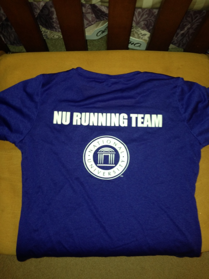 Representing the company. This race was not officially tied into the Holiday Bowl that NU sponsored, but it was close enough!