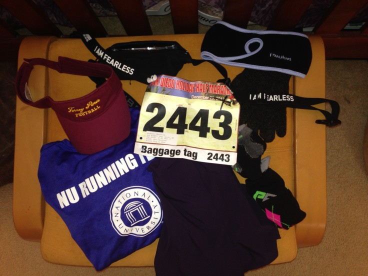 Full pile of race gear ready to go.
