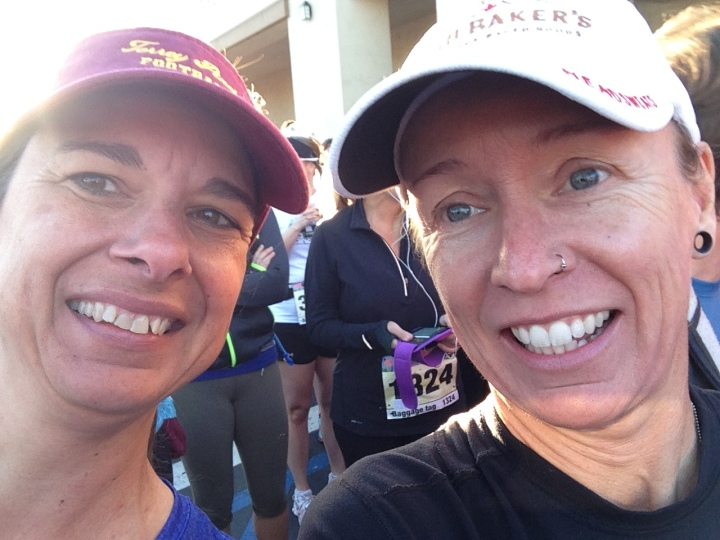 Smiling through chattering teeth at the start line. It was in the 40s.