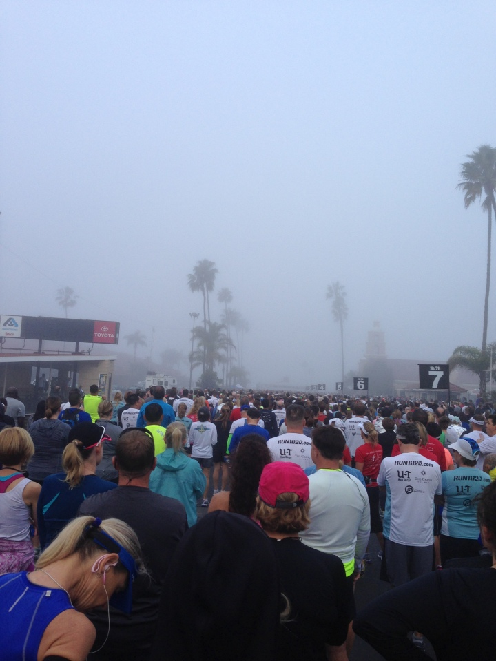 Foggy start towards the middle of the pack.