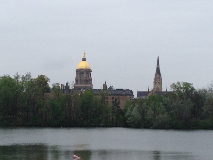 Notre Dame Campus across the river from our stop in South Bend.