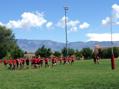 Rugby under the deep blue skies.