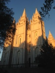 The Main Temple in Mormon Square at sunset.