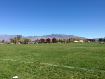 At the rugby field, looking east to the Sandia Peak where we would be Sunday afternoon.